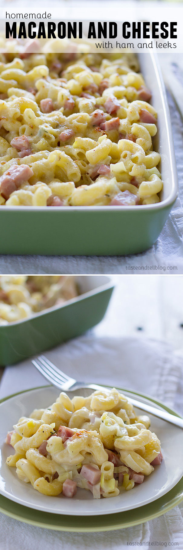 Creamy homemade macaroni and cheese is made with gruyere cheese and filled with leeks and ham for an irresistible version of macaroni and cheese that the whole family will love.
