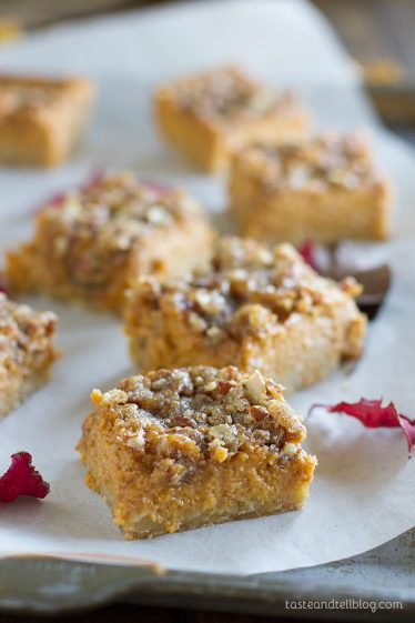 Pumpkin Pie Bars - Pumpkin pie in bar form! An oat crust is topped with a pumpkin pie mixture and a crunchy sugar topping.