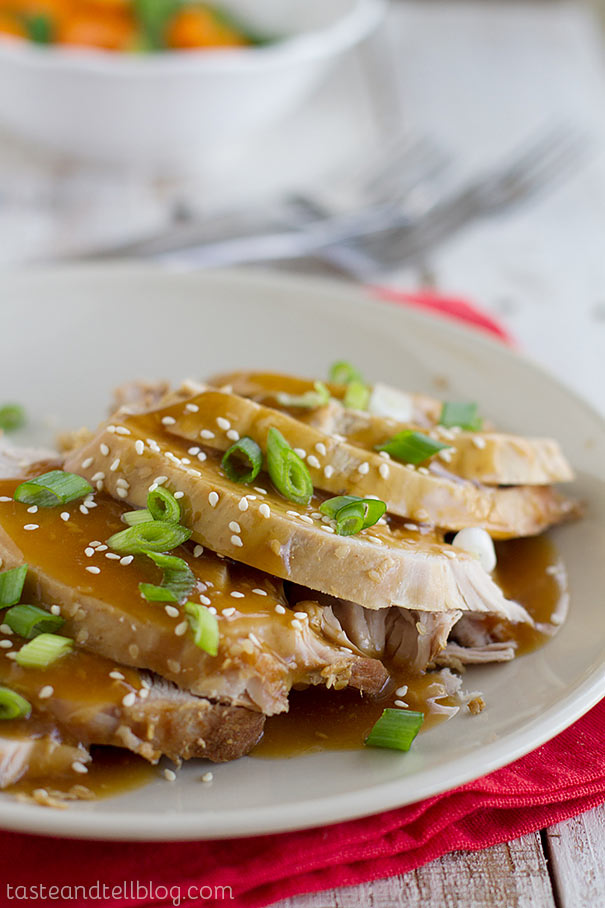 Slow Cooker Sesame Pork - Pork roast is marinated overnight in an Asian-inspired sauce, then cooked low and slow until it is fall-apart tender.