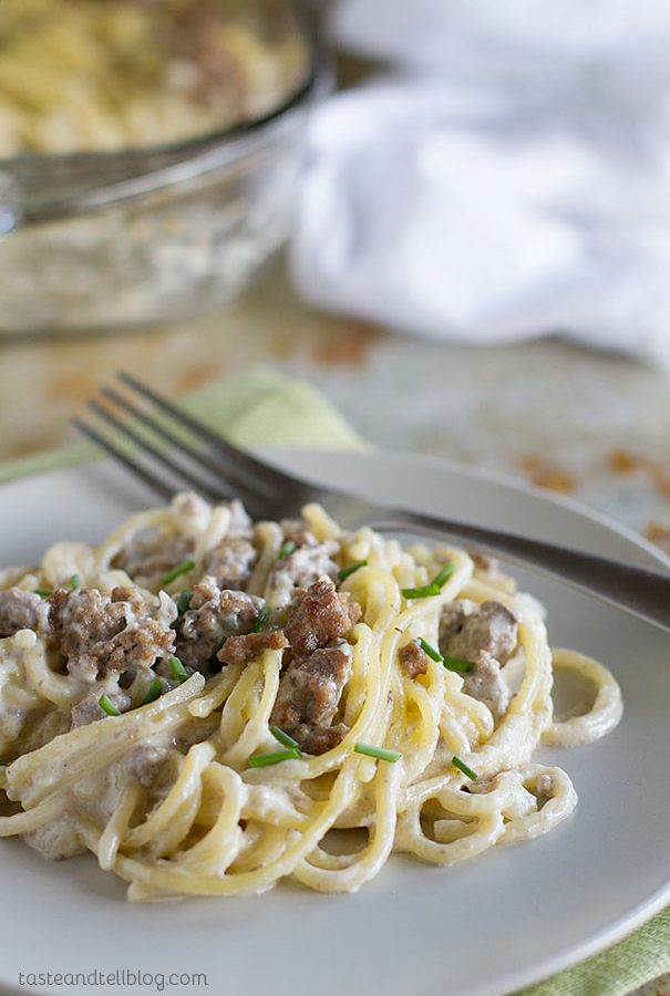 Beef and Blue Cheese Baked Spaghetti