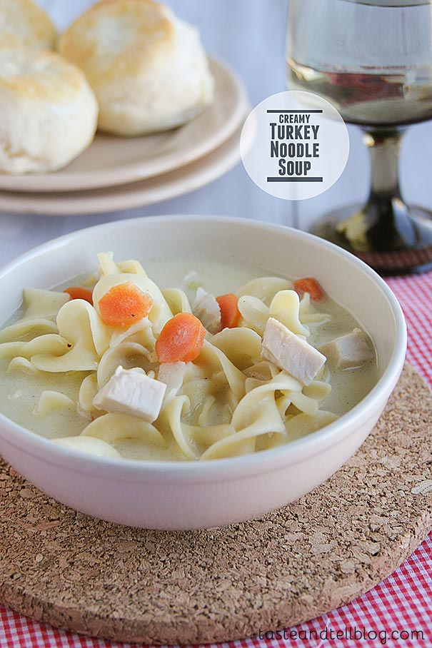 The perfect leftover soup, this Creamy Turkey Noodle Soup is ideal for Thanksgiving leftovers, but is a great way to use up leftover chicken, as well!