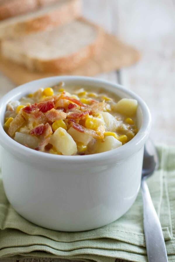Crock Pot Corn Chowder in a bowl