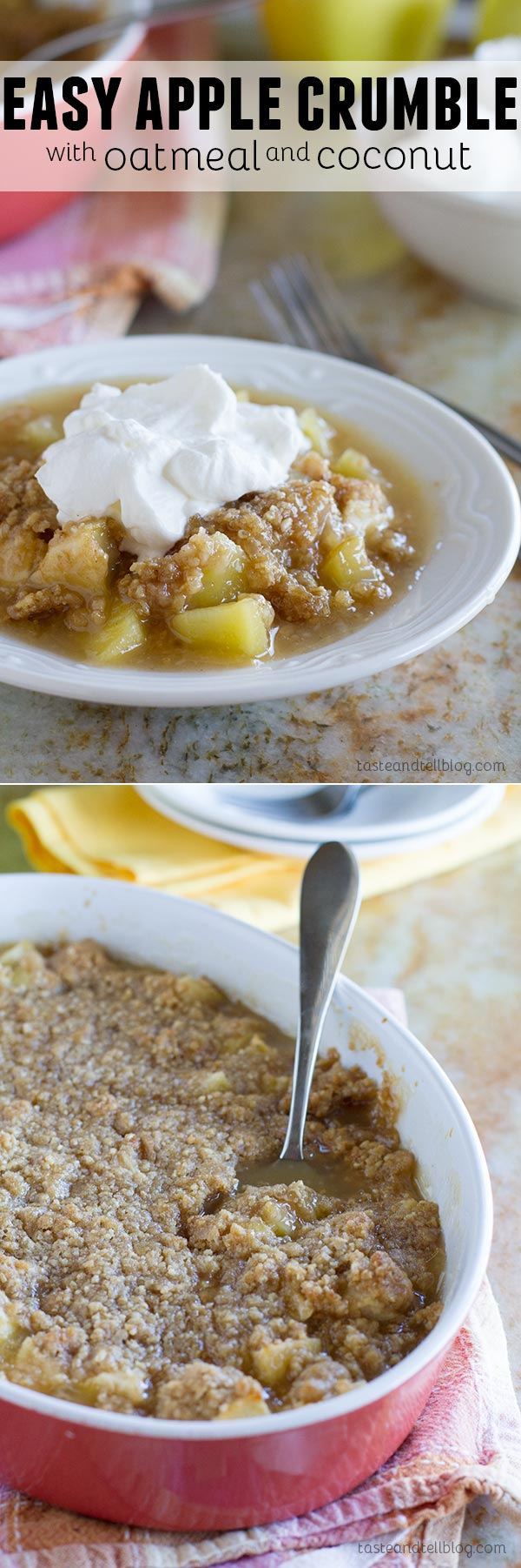 Easy Apple Crumble with Oatmeal and Coconut - Baked apples are topped with a mixture of steel cut oats and coconut in this easy apple crumble.  Top it off with homemade whipped cream for an easy dessert that everyone will love.