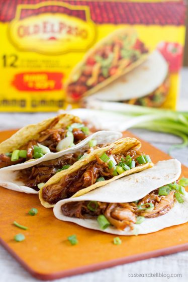 Honey Garlic Chicken Tacos - Chicken thighs are slow cooked in a honey, soy and garlic mixture, then shredded for a fun Taco Tuesday.