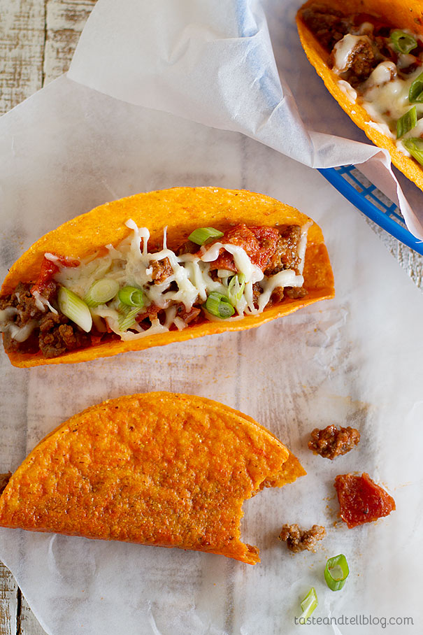Meat Lovers Pizza Tacos - cheesy tacos stuffed with all of the flavors of Meat Lovers Pizza