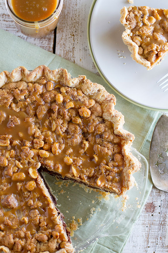 This Peanut Butter Fudge Pie with Salted Peanut Butter Caramel is decadent and rich!