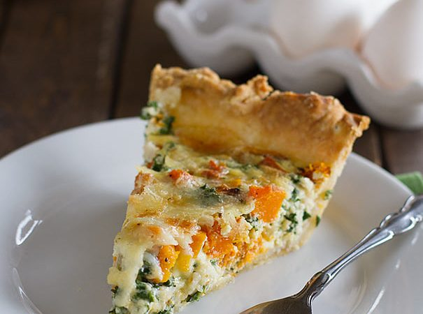 Quiche Recipe with Butternut Squash and Kale - a perfect breakfast or brunch recipe using seasonal ingredients.