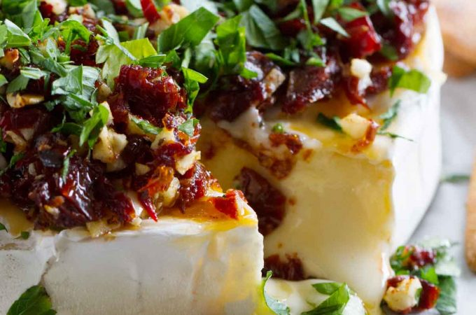 Easy Appetizers - Baked Brie Recipe with Sun-Dried Tomatoes