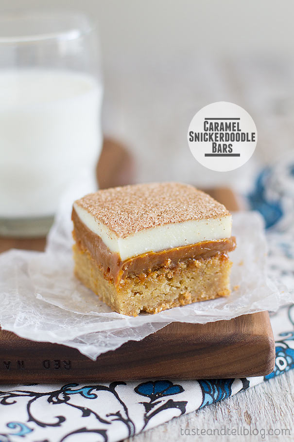 A soft, brown sugar blondie is topped with lots of dulce de leche, white chocolate, and of course, plenty of cinnamon-sugar in these Caramel Snickerdoodle Bars!