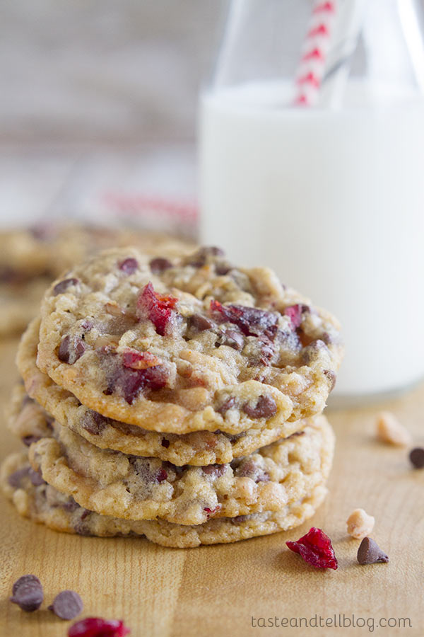 Chocolate Toffee Cranberry Cookies - soft oatmeal cookies that are crammed full of all kinds of goodies!