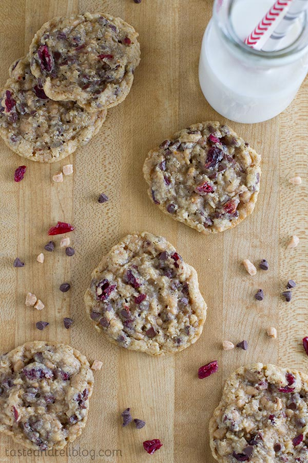 Chocolate Toffee Cranberry Cookies - sweet and soft and perfect for any cookie craving.