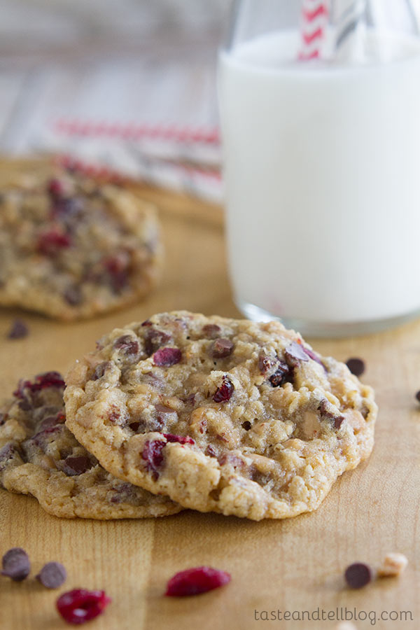 Soft and sweet Chocolate Toffee Cranberry Cookies - you won't be able to stop at one!!