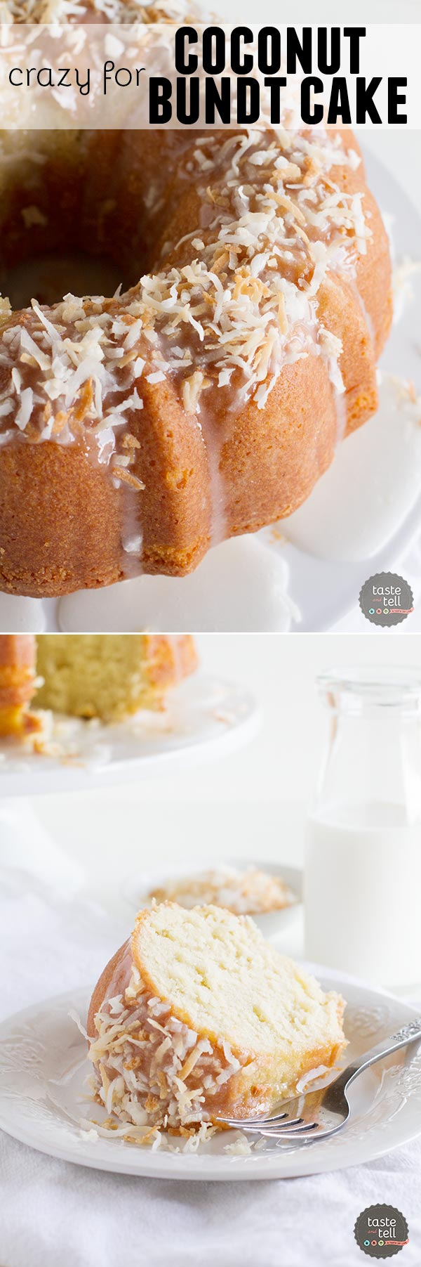 Crazy for Coconut Bundt Cake - the most perfect coconut bundt cake recipe that is flavorful and moist with the perfect amount of coconut flavor.