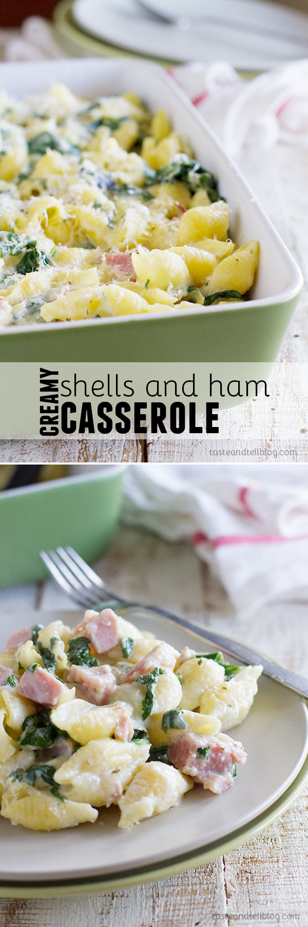 This kid-friendly Creamy Shells and Ham Casserole has pasta coated in a creamy sauce plus ham and spinach that adds tons of flavor. A great way to use up leftover holiday ham!