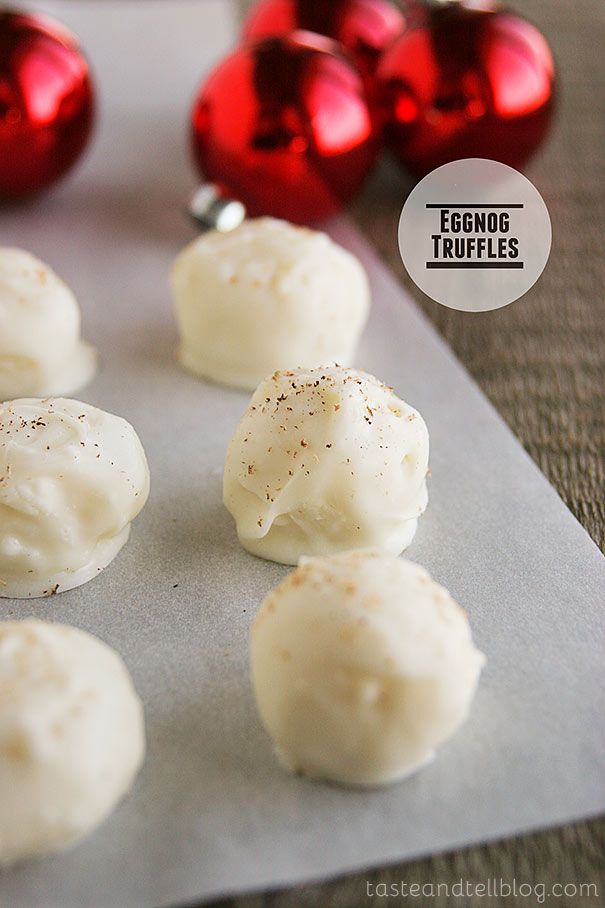 These Eggnog Truffles are white chocolate truffles that are infused with the flavors of eggnog. Perfect for Christmas gifts!