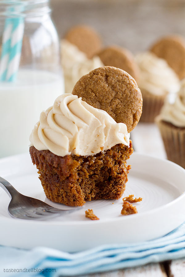 Gingerbread cupcakes have a gingerbread cookie crust and a brown sugar cream cheese frosting. Top them off with another gingerbread cookie for a festive Christmas treat!