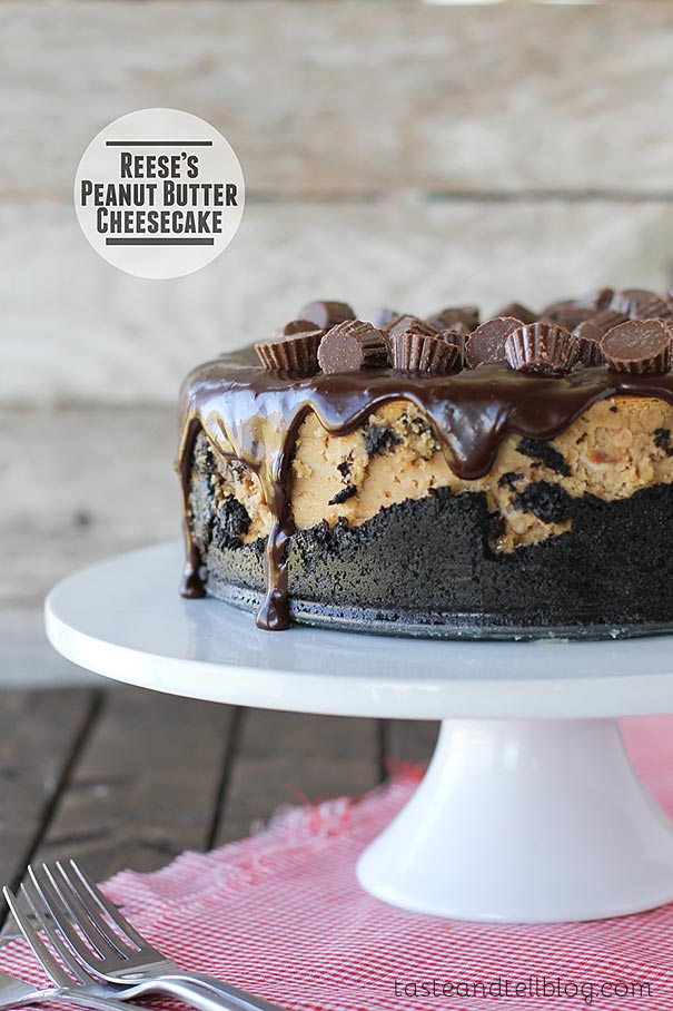 Rich and decadent, this peanut butter cheesecake starts with a cookie crust, is filled with Reese's Peanut Butter Cups, then topped with a chocolate ganache and even more peanut butter cups.