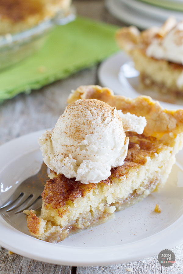Pie meets snickerdoodle cookie in this addictive Snickerdoodle Pie.  A pie crust is topped with a soft snickerdoodle cookie center and a cinnamon caramel sauce.  Serve with ice cream for a delicious dessert!