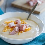 A great way to use up leftover ham, this Cauliflower soup is cheesy and creamy and perfect for a cold night.