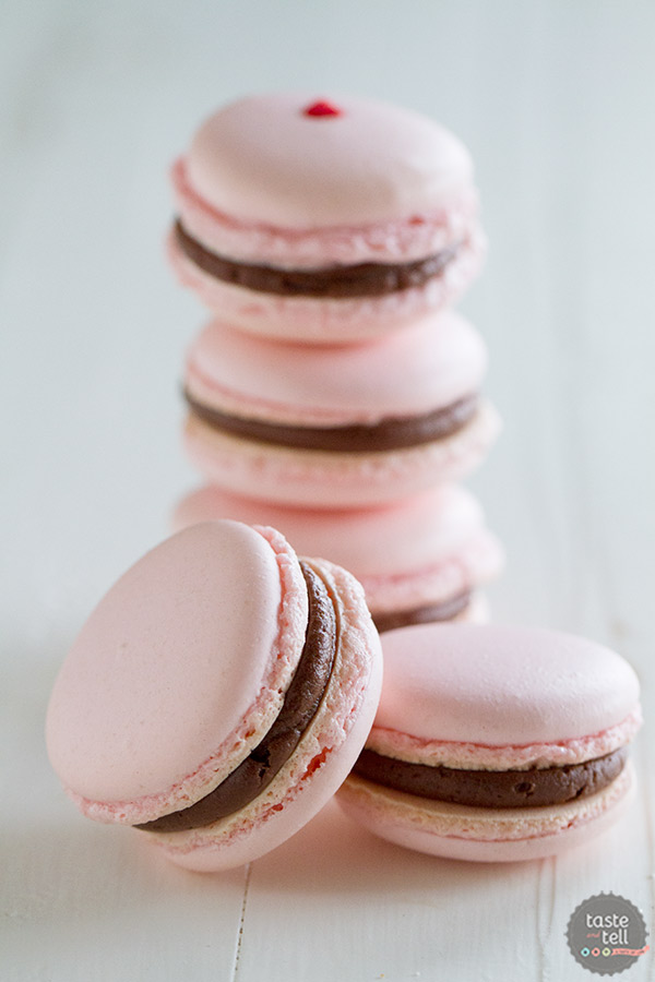 Chocolate Cherry French Macarons - French macarons filled with a maraschino cherry and chocolate buttercream.