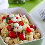 Recipe for Easy Caprese Mac and Cheese on www.tasteandtellblog.com