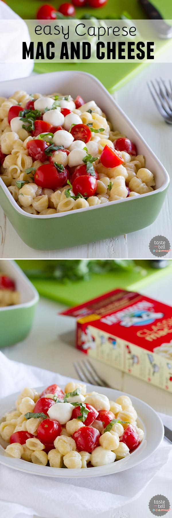 Busy day?  Take it easy with this Easy Caprese Mac and Cheese.  Jazz up your mac and cheese with tomatoes, mozzarella and basil in this Caprese inspired macaroni and cheese.