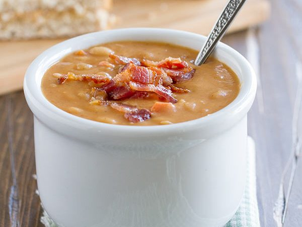 Skip the can - this Homemade Bean and Bacon Soup is hearty and filling and filled with veggies and chunks of bacon!