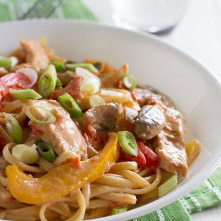 Filled with vegetables and a good kick of spice, you will never guess that this Cajun Chicken Pasta is actually a lighter meal!!