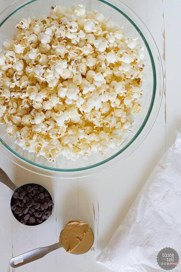 ingredients for Muddy Buddy Popcorn