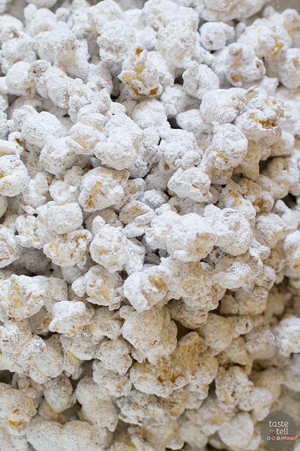Muddy Buddy Popcorn recipe on www.tasteandtellblog.com