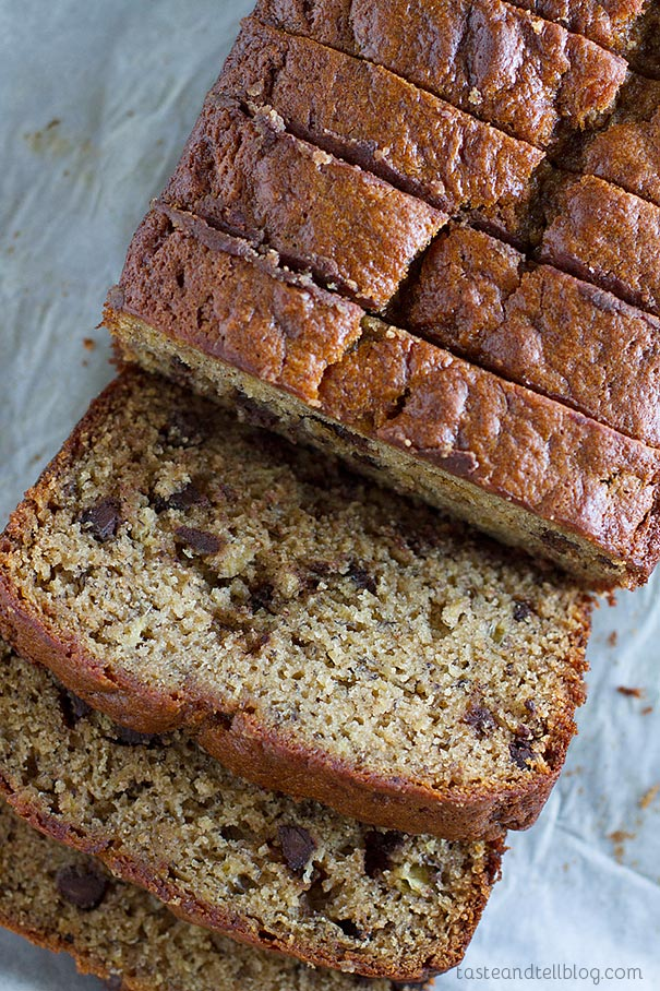 Fit for a king, this Peanut Butter Banana Bread with Chocolate Chips is a fun take on Elvis' favorite flavor combination - peanut butter and bananas.
