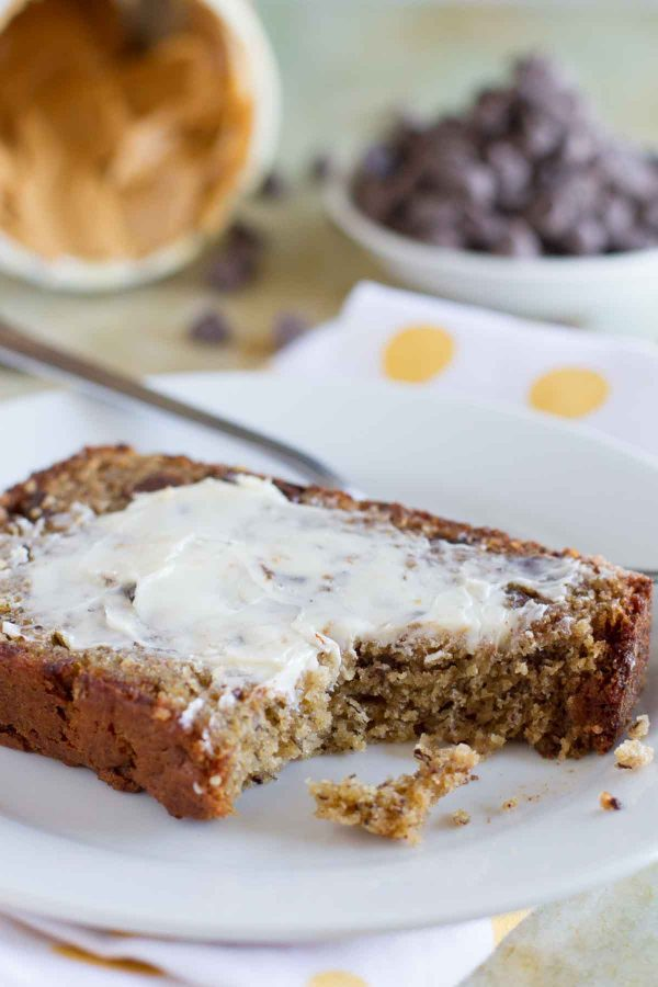 slice of peanut butter banana bread with chocolate chips