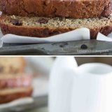 Peanut Butter Banana Bread with Chocolate Chips collage
