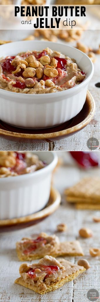 The flavors of a favorite sandwich are turned into a dessert dip! Get out the graham crackers to dip into this addictive Peanut Butter and Jelly Dip.