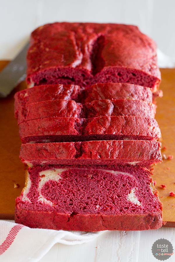 Double the cream cheese - a cream cheese red velvet quick bread has a ribbon of cream cheese filling. On Taste and Tell.