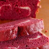 Red Velvet Quick Bread with a Cream Cheese Filling on www.tasteandtellblog.com