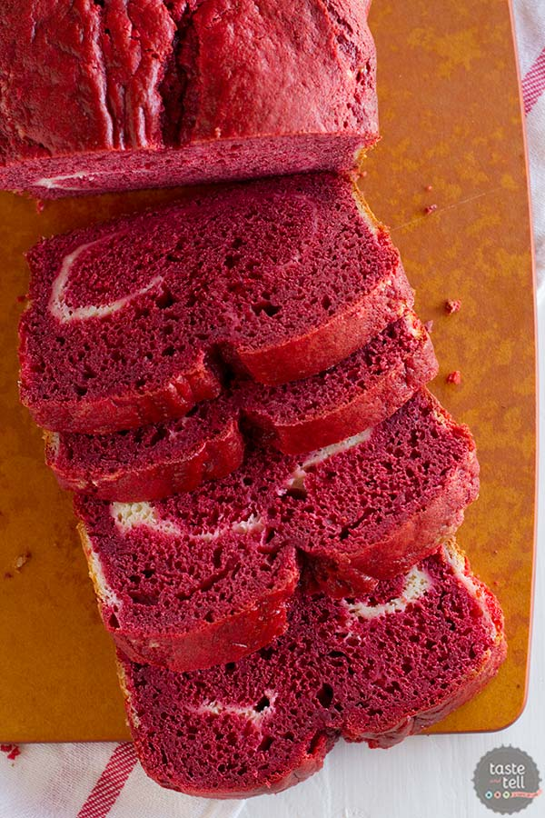 This Red Velvet Quick Bread has a ribbon of cream cheese filling throughout.
