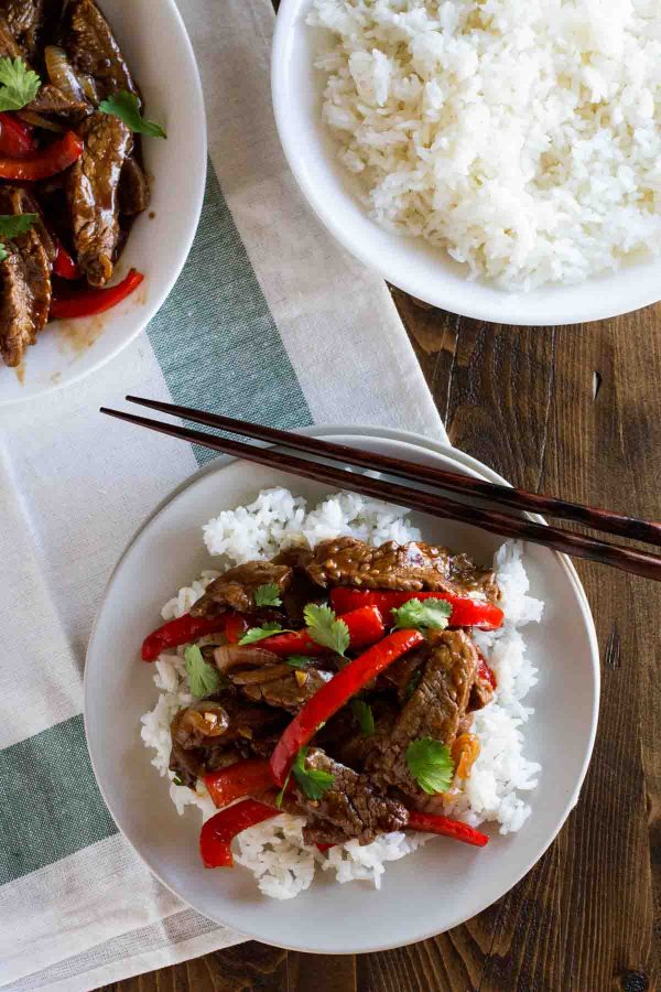 Steak Stir Fry Recipe with Peppers over rice