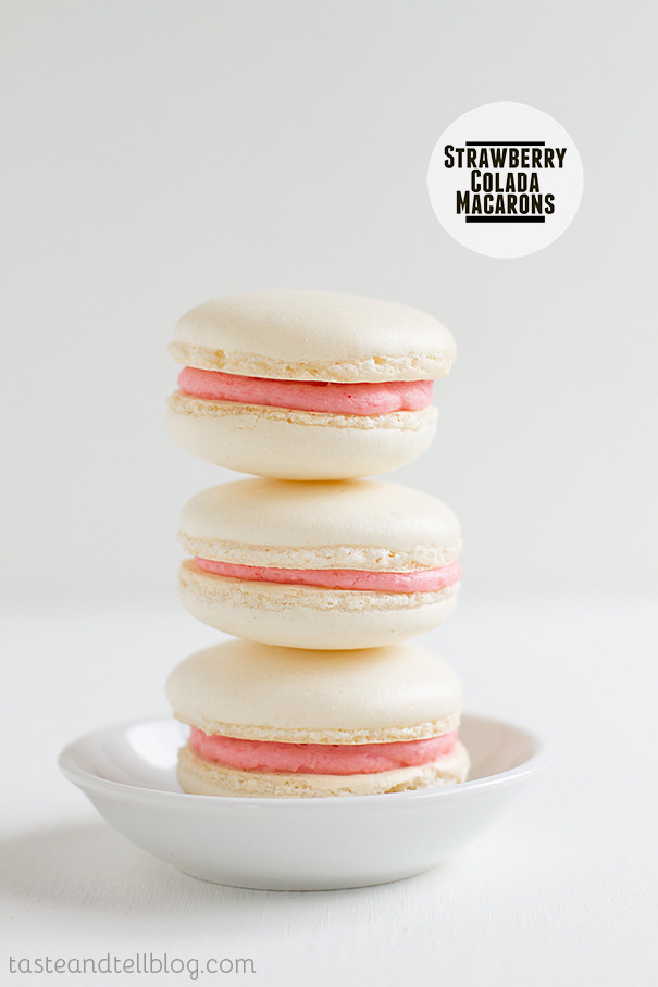 Strawberry Colada Macaroons on www.tasteandtellblog.com