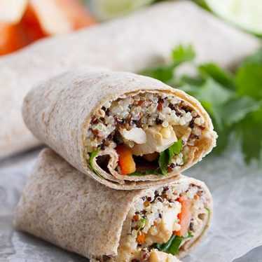 Quinoa and chicken are combined with quinoa, coconut milk, chiles and other veggies in these easy Thai Chicken Wraps that are a great recipe for lunch or an easy dinner.