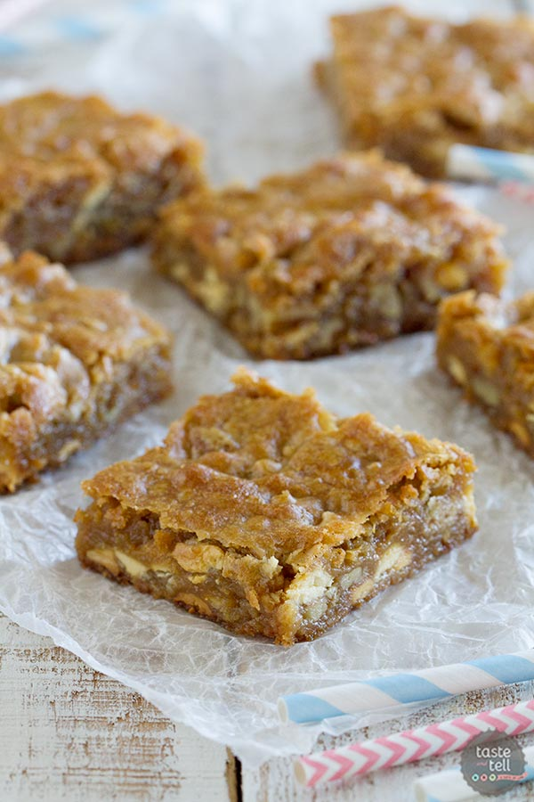 Everyone needs The Best Blondie Recipe - and this is the one I love! Filled with pecans, white chocolate chips and toffee pieces, every bite is sweet and rich and buttery.
