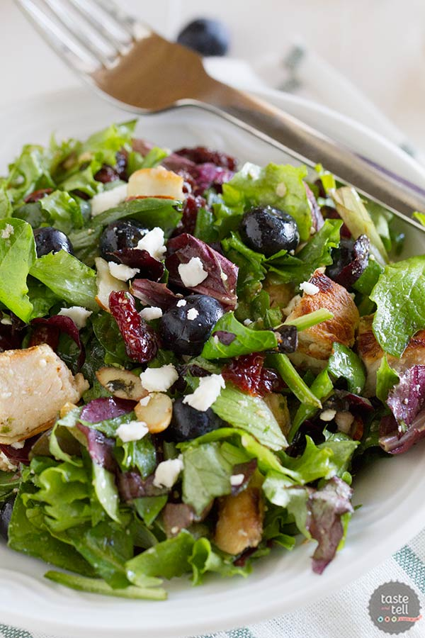 Berry Balsamic Chopped Salad Recipe with balsamic marinated chicken