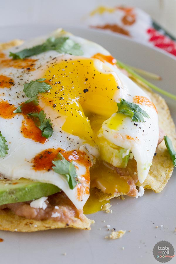 Easy Breakfast Tostadas - Taste and Tell