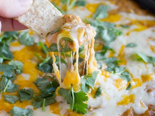 Hot Beef and Bean Dip - cheesy and beefy and full of flavor.