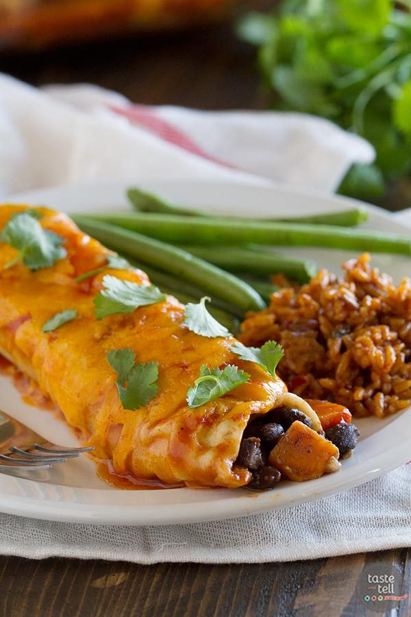 Sweet Potato and Black Bean Enchiladas - a great meatless dinner on a budget!