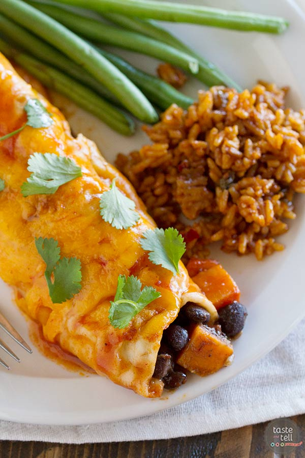 Sweet Potato and Black Bean Enchiladas - a delicious meatless main dish.