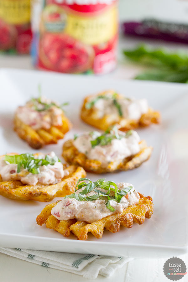 Have fun with your food with these Tomato Basil Waffle Fry Crostini!