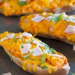Twice Baked Sweet Potatoes with Cheddar and Canadian Bacon - a great side dish, or even perfect as a main dish!