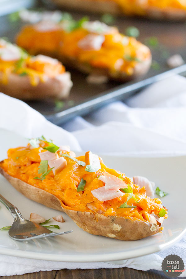 Twice Baked Sweet Potatoes with Cheddar and Canadian Bacon - creamy and cheesy!