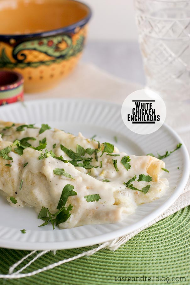 Family Favorite White Chicken Enchiladas on tasteandtellblog.com